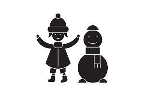 Girl with a snowman black vector