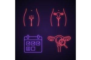 Gynecology neon light icons set