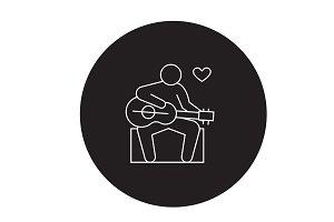 Guitar player black vector concept