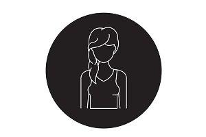Hair loss black vector concept icon