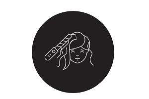 Hair styling black vector concept