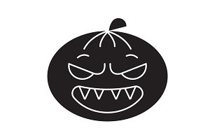 Halloween emoji black vector concept