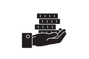 Hand with coins black vector concept