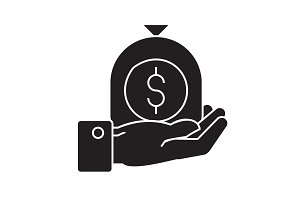 Hand with money bag black vector