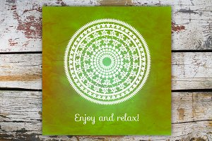 """Enjoy and relax!""Decorative card."