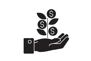 Hand with money tree black vector