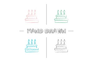 Birthday cake hand drawn icons set