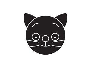Happy cat emoji black vector concept