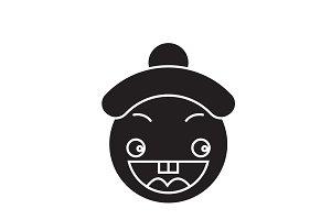 Happy chinese emoji black vector