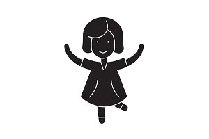 Happy girl jumping black vector