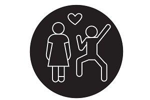 Happy love couple black vector