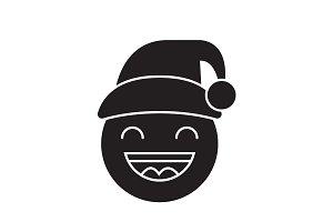 Happy new year emoji black vector