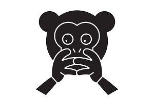 Hear no evil emoji black vector