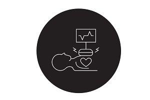 Heart surgery black vector concept