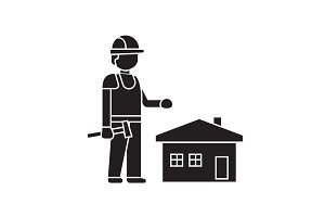 Home construction worker black