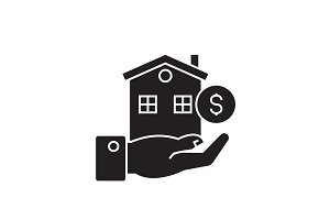 Home loan black vector concept icon