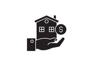 Home loan black vector concept icon