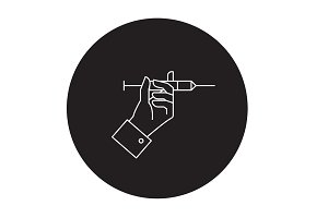 Injections black vector concept icon