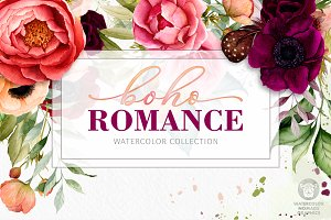 Boho Watercolor Flowers Collection