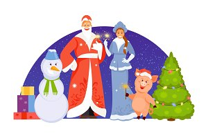 Christmas characters vector