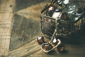 Christmas decoration balls in basket
