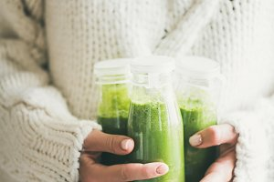 Healthy green smoothie or juice in