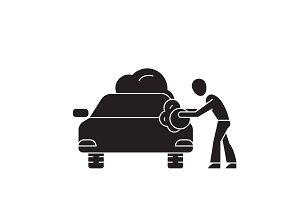 Car washing black vector concept