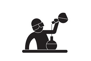 Chemist at work black vector concept