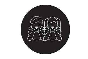 Children laughing black vector