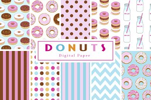 Donut and Milk Backgrounds