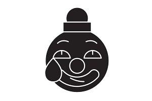 Clown emoji black vector concept