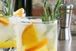 Vodka,  tonic and orange juice