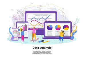 Data analysis vector concept with