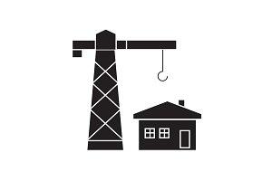 Construction residental house black