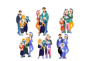 Vector cartoon big family character