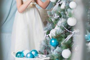 Little beautiful girl in white dress