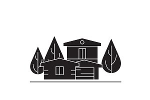 Country house black vector concept