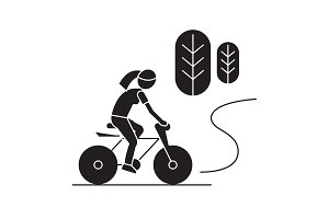 Countryside bike ride black vector
