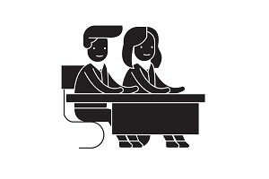 Couple students at a desk black