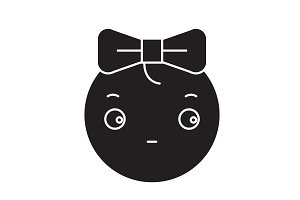 Cute girly emoji black vector