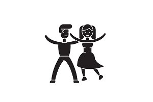 Dancing couple black vector concept