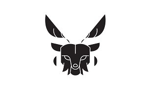 Deer head black vector concept icon