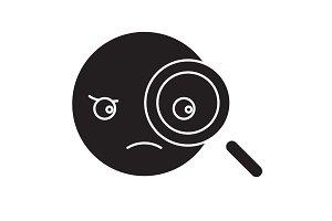 Detective emoji black vector concept