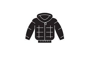 Down jacket black vector concept