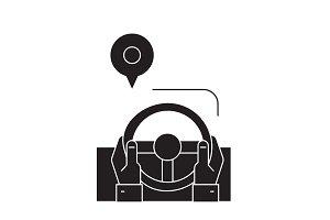 Drive route black vector concept