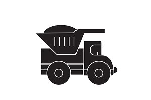 Dump truck black vector concept icon