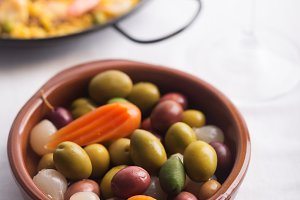 Traditional Spanish olives on the pl
