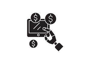 Earnings online black vector concept