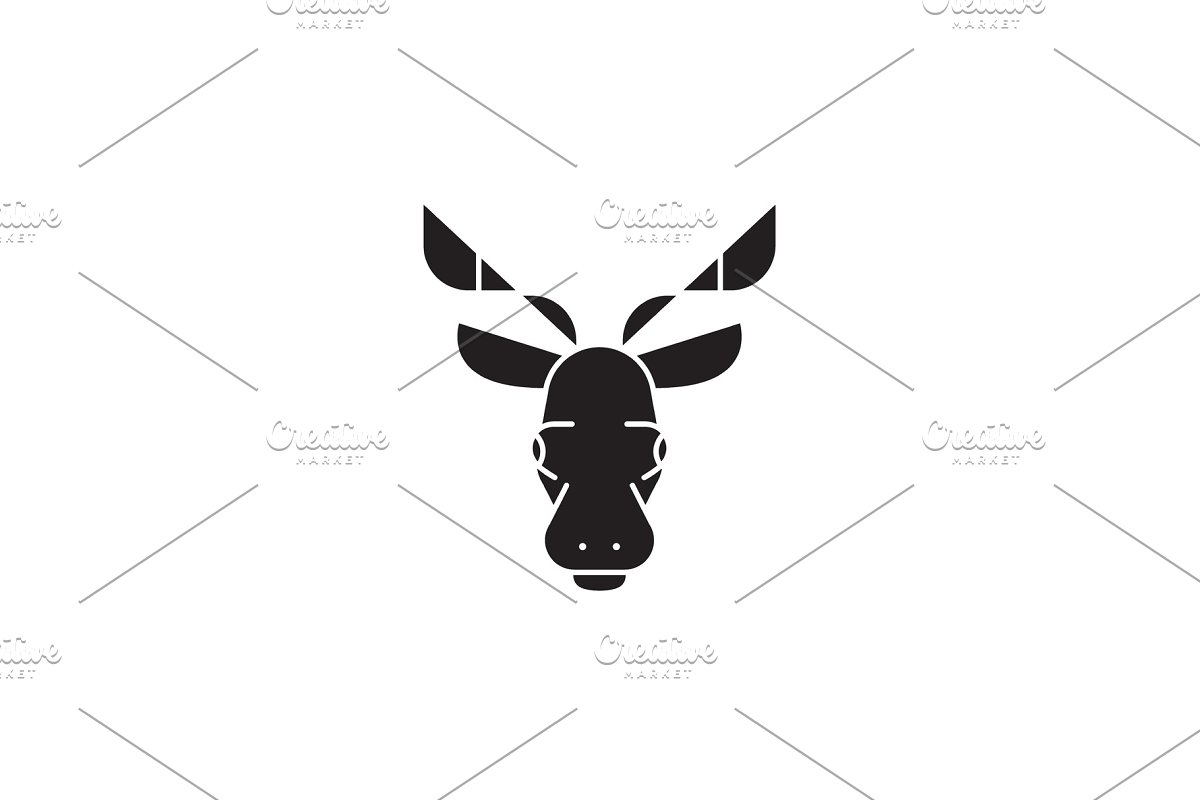 Elk Head Black Vector Concept Icon Illustrations Creative Market