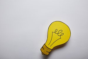 top view of light bulb idea symbol o